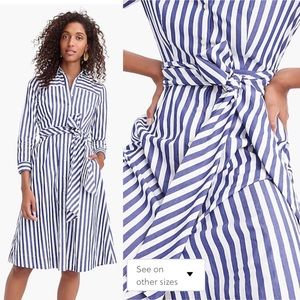 J. Crew Blue Stripe Tie Waist Shirt Dress